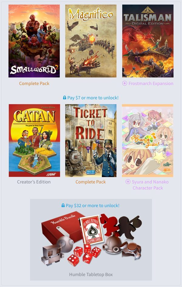 Humble Weekly Bundle Tabletops Now Live