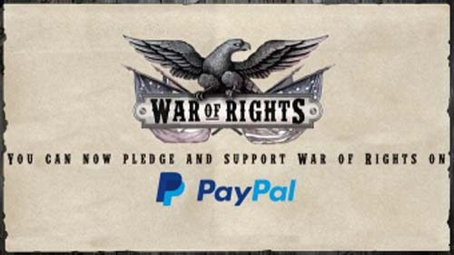 War of Rights Funds on Kickstarter, PayPal Pledging Now Available