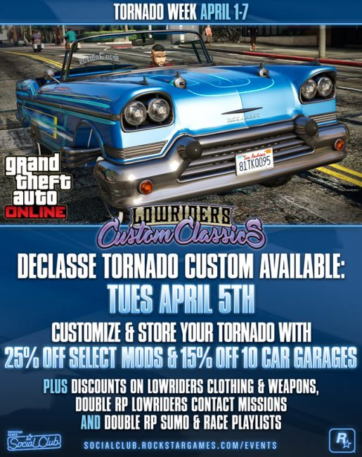 GTA Online New Tornado Custom Arriving Tuesday, Lowrider Bonuses and More