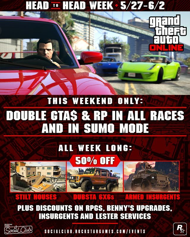 GTA Online Head to Head Week Details (May 27 - June 2)