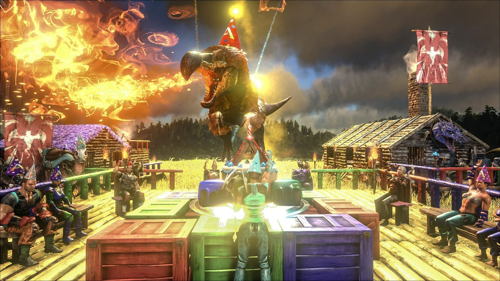 ARK: Survival Evolved First B'day Event Delivers Cake & Dragon Boss Arena