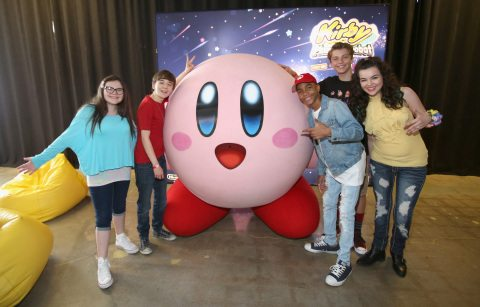 CULVER CITY, CA - JUNE 22:  In this photo provided by Nintendo of America, kids meet Kirby at the Kirby: Planet Robobot celebration at Smashbox Studios in Culver City, California, on June 22, 2016. In the new sci-fi adventure game, available now for the Nintendo 3DS family of systems, Kirby has the power to save his world from enemies with his mechanized Robobot Armor. (Photo by Jonathan Leibson/Getty Images for Nintendo of America)