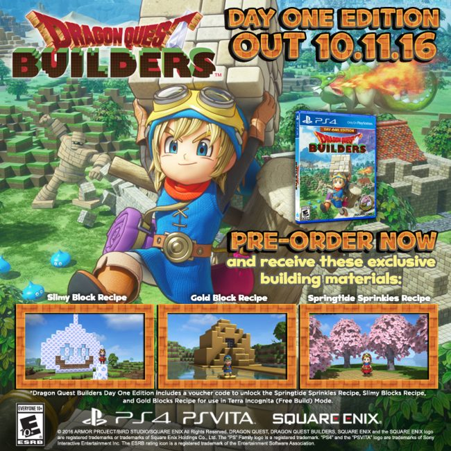 DRAGON QUEST BUILDERS Day One Edition Announced