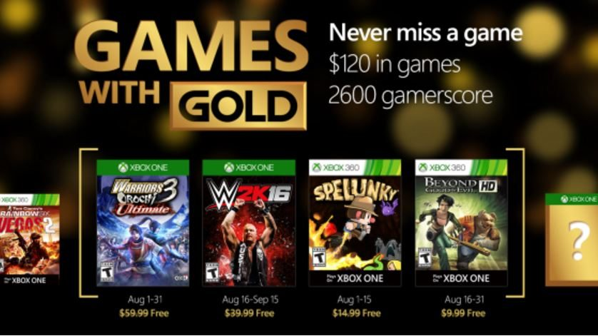 Xbox Live Games With Gold (Aug. 2016)