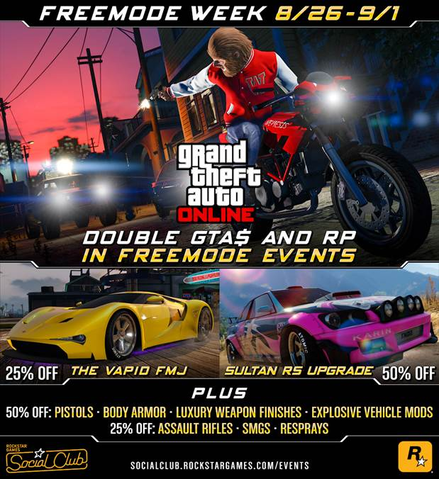 GTA Online Freemode Week: Double GTA$ & RP on Freemode Events and More