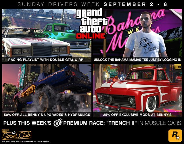 GTA Online Sunday Drivers Week: Double GTA$ & RP Racing Playlist & More