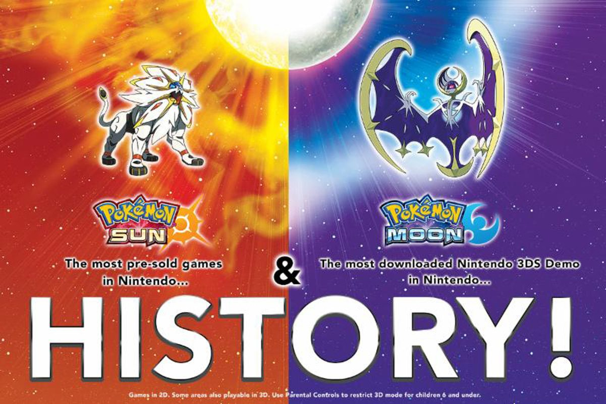 The Best Pre-Selling Games in Nintendo History are Pokémon Sun and Pokémon Moon