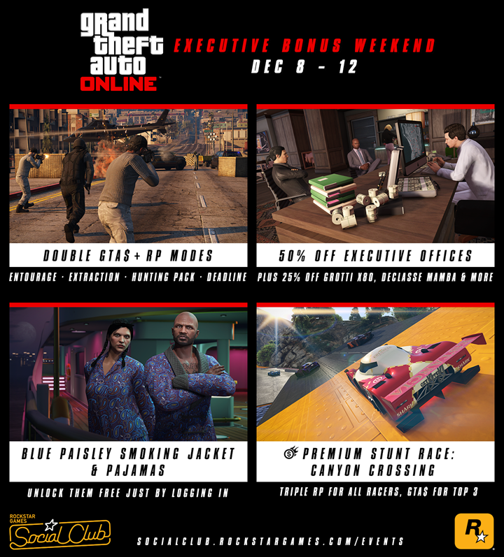 GTA Online CEO Bonuses, Double GTA$ and RP Modes, 50% Off Executive Offices and More