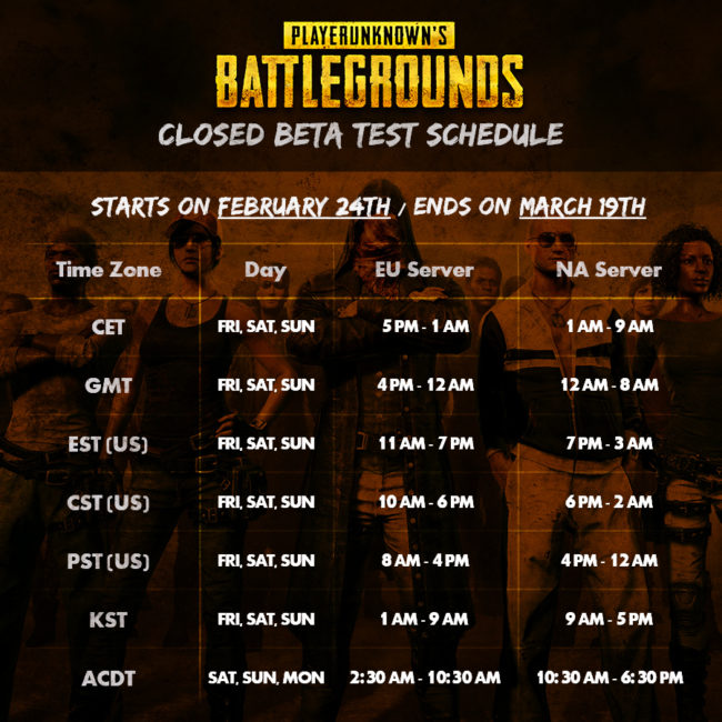 PLAYERUNKNOWN'S BATTLEGROUNDS Closed Beta Test Weekends Starts Today