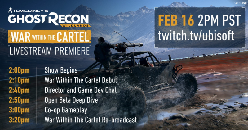 Tom Clancy's Ghost Recon Wildlands Livestream Event Today at 2pm PST/10pm UK