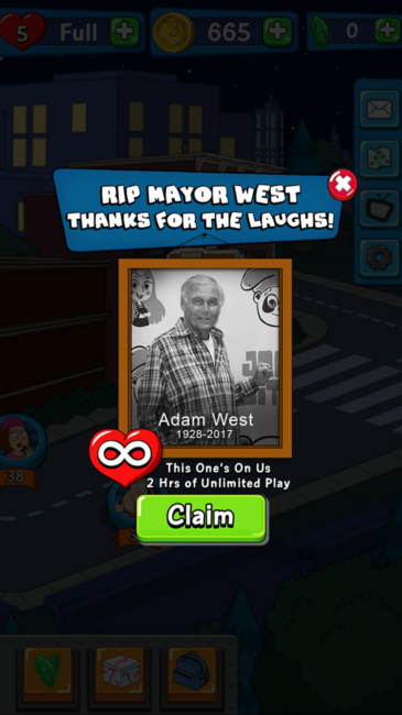 Jam City Honors Adam West in Family Guy: Another Freakin' Mobile Game